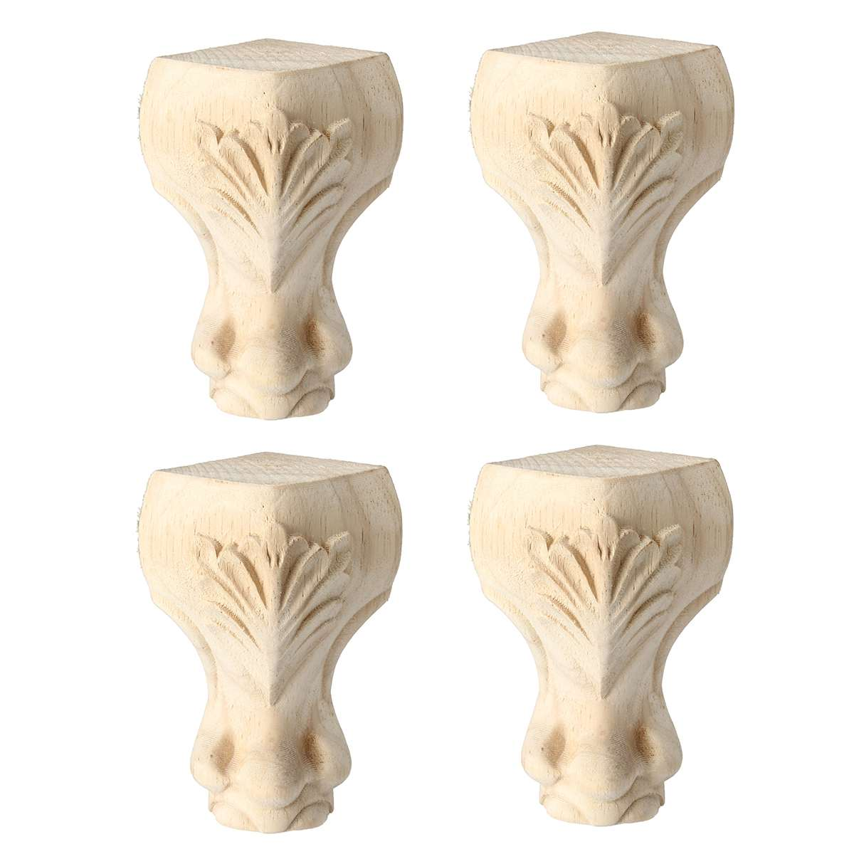 4Pcs/set 15x6cm 10x6cm Furniture Legs Wooden European Style Solid Wood Carved Sofa TV Cabinet Seat Feets Furniture Foot Legs