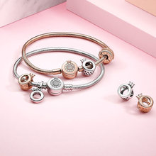 Женский браслет из серебра 925 пробы простой сверкающие фианиты