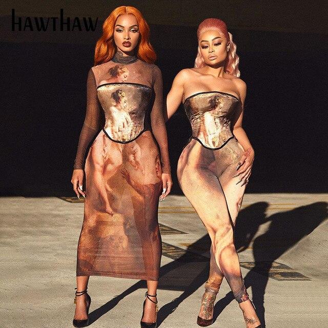 Hawthaw Women Fashion Autumn Winter Long Sleeve Printed O Neck Bodycon Slim Pencil Long Dress 2021 Fall Clothes Streetwear 2