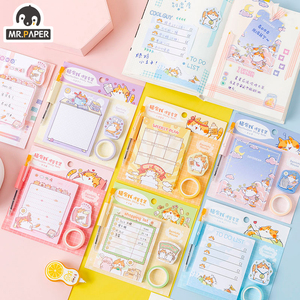 Mr.Paper 50pcs/lot 6 Designs Animal Cat Kawaii Cute Deco Memo Pad Sticky Notes Notepad Creative Diary Self-Stick Notes Memo Pads
