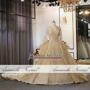 Image 5 - 새로운 럭셔리 반짝이 직물 웨딩 드레스 두바이 디자인 웨딩 드레스 2020