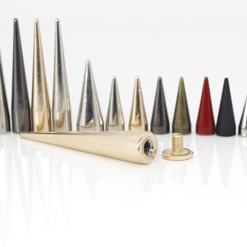 10pcs Solid Metal Screwback Cone Studs Bullet Spike Long Punk Rivets for Leather Craft Bag Garment Clothing Shoes DIY Decor in Garment Rivets from Home Garden