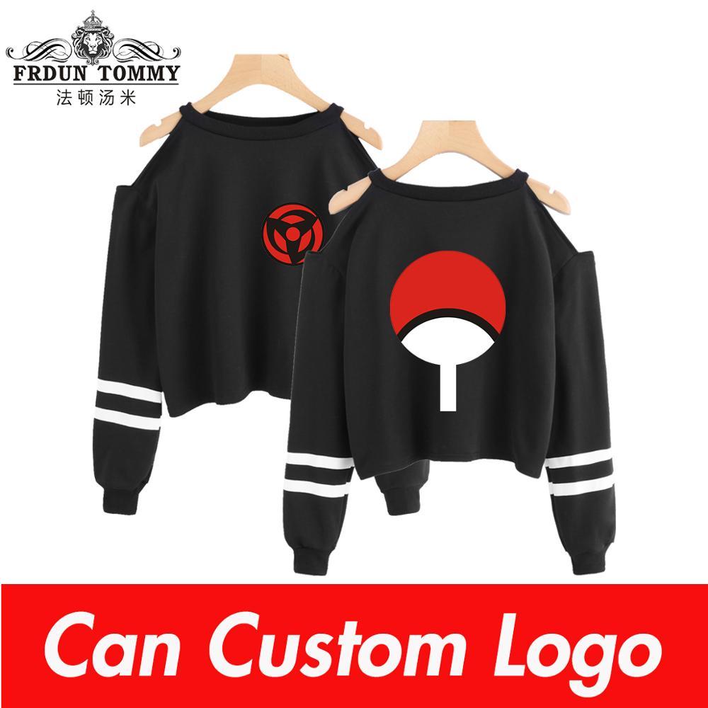 Naruto Kpop Sweatshirt Short Sweatshirt Off-shoulder Top Fashion Short Sexy Ninjia Hip Hop Kpop Crop Hoodies For Women
