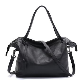 Brand Handbag Women Bag Soft Genuine Leather Portable Shoulder Bags Ladies Black Brown Casual Designer Tote Bag Female Bolsas