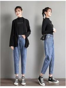 Mom Jeans Denim Pants Harem Loose Blue High-Waist Plus-Size Cotton Women Soft
