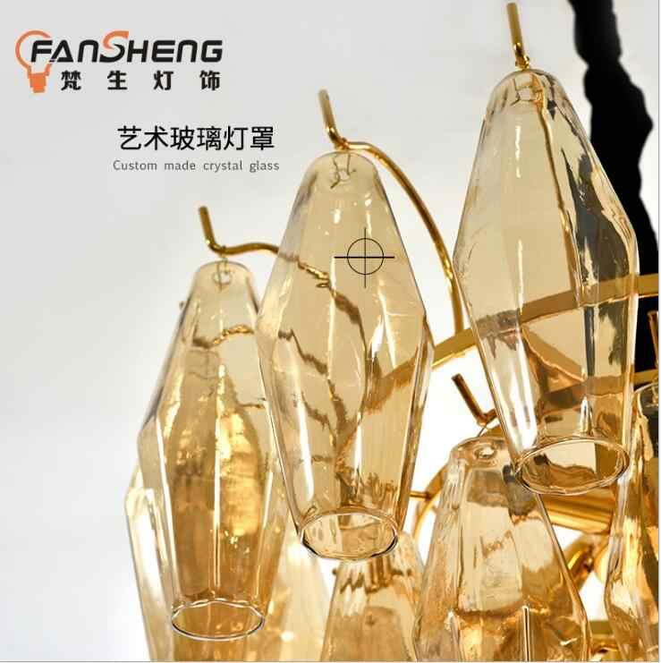 Постмодерн свет роскошный Гонконг дизайнер гостиная моделька фонаря Номер Ресторан дым серый алмаз хрустальная люстра L