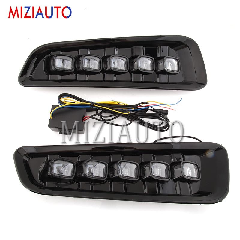 MIZIAUTO 2pcs For Ford F150 Raptor SVT 2016 2017 2018 2019 Driving Light LED Daytime Running Light Fog Lights DRL yellow signal