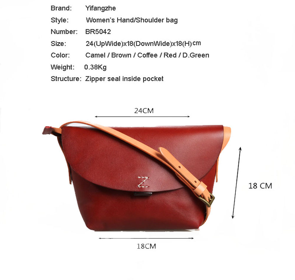 YIFANGZHE Women Genuine Leather Bag, Top Quality Ladies' Leather  Handbags/Messenger bag/ Crossbody Bags with Large Capacity
