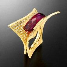 Anillos geométricos rectangulares de circonio rosa de cristal rojo RongXing para mujer Vintage oro amarillo lleno anillo de boda joyería femenina Navidad