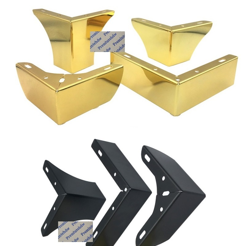 2Pcs/Lot 100Kg Titanium Gold  Matte Black Consice L Shape Furniture Feet Sofa Cabinet Cupboard Coffee Bar