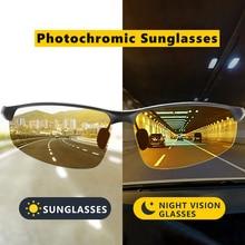 HD 운전 안경 브랜드 Photochromic Polarized Sunglasses 남성 Alumium 스포츠 고글 Trend Chamelen oculos de sol masculino UV400
