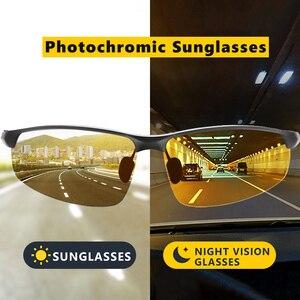 Image 1 - HD نظارات للقيادة ماركة اللونية الاستقطاب النظارات الشمسية الرجال الألومنيوم الرياضة حملق الاتجاه Chamelen oculos دي سول masculino UV400