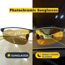 Óculos de sol masculino polarizado fotocrômico, óculos de sol masculino esportivo, polarizado, fotocrômico, tendência de alumínio uv400