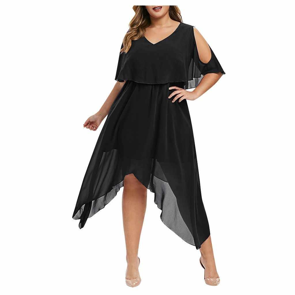 Vestido feminino plus size com decote em v manga curta fora do ombro bainha irregular chiffon tamanhos grandes vestido de verão sexy vestido de festa # j30