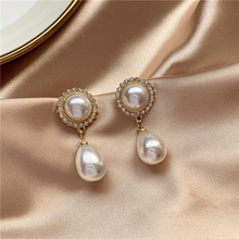 Fashion and elegant temperament of restoring ancient ways pearl earrings contracted gem geometric stud earrings