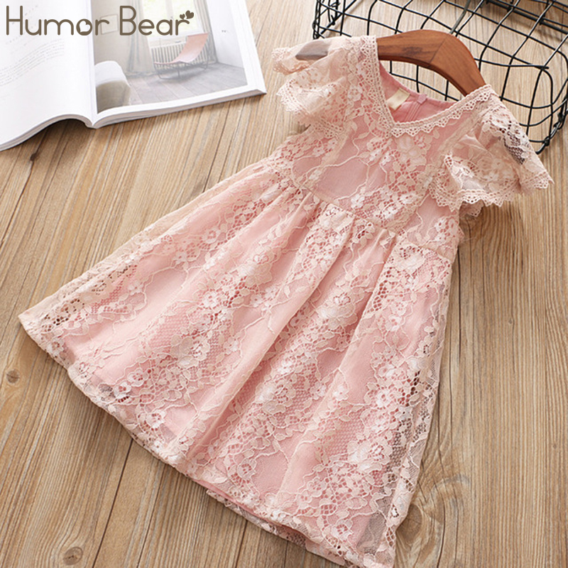 Humor Bear Baby Girl Dress Summer New Dress For Girls Lace Carved Flying Sleeve Dress Baby Clothing Princess Party Dress