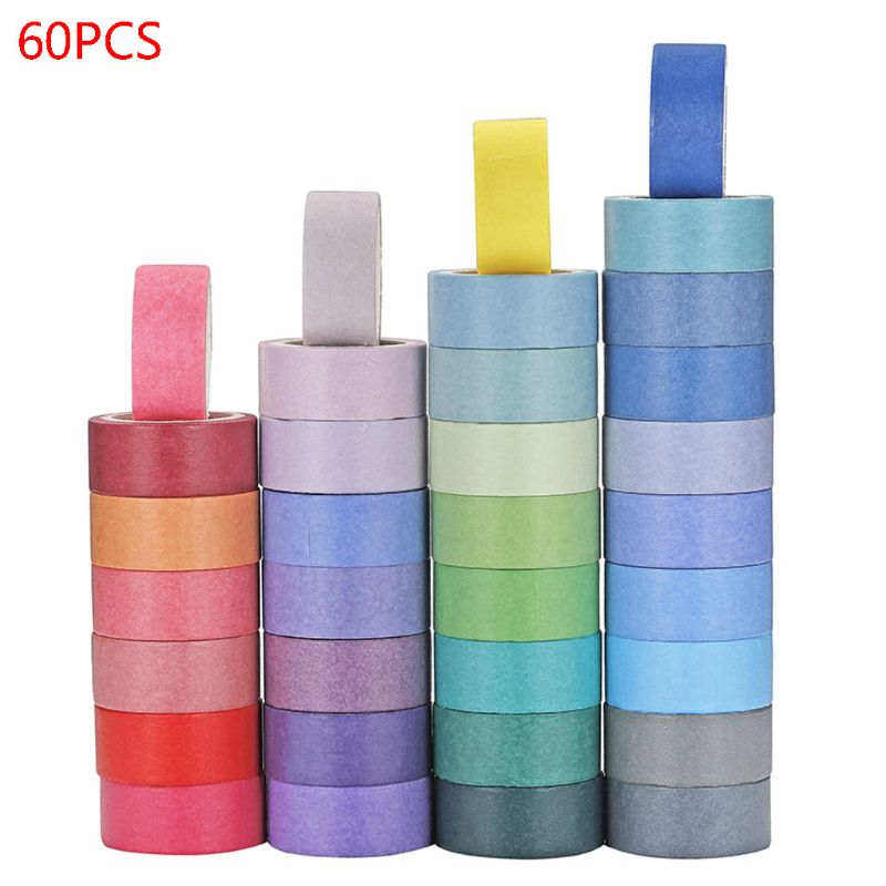 60 Rolls 15mm  8mm Washi Masking Tapes Wide Colorful Decorative Masking DIY Tapes For Crafts Scrapbook Gifts Warpping