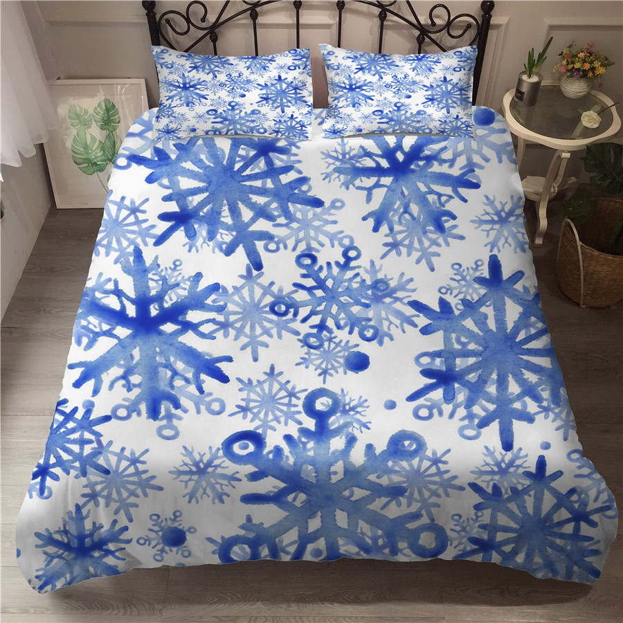 A Bedding Set 3D Printed Duvet Cover Bed Set Christmas Snowflake Home Textiles for Adults Bedclothes with Pillowcase XH04 in Bedding Sets from Home Garden