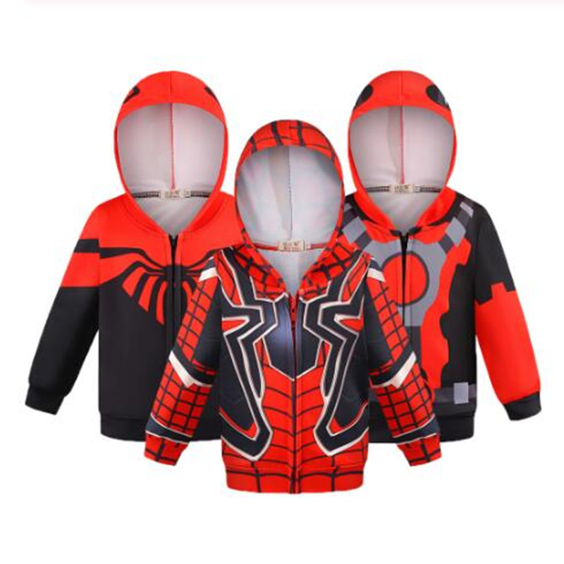 Marvel Spiderman Boys Hooded Fleece Jacket Kids Avengers Full Zip Hoody Hoodie Sweater Jumper