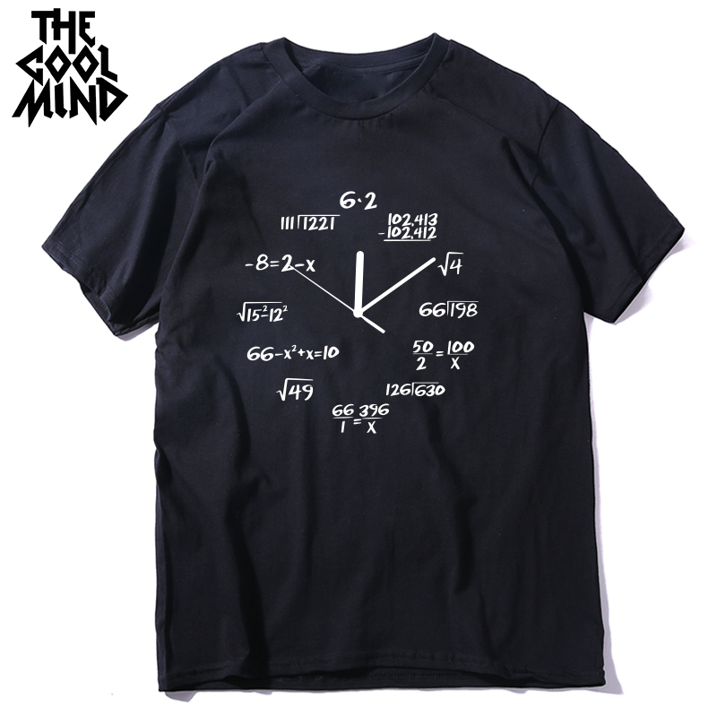 COOLMIND 100% Cotton Math Clock Print Funny Men T Shirt Casual Short Sleeve O-neck Men Tshirt Cool Summer T-shirt Mens Tee Shirt