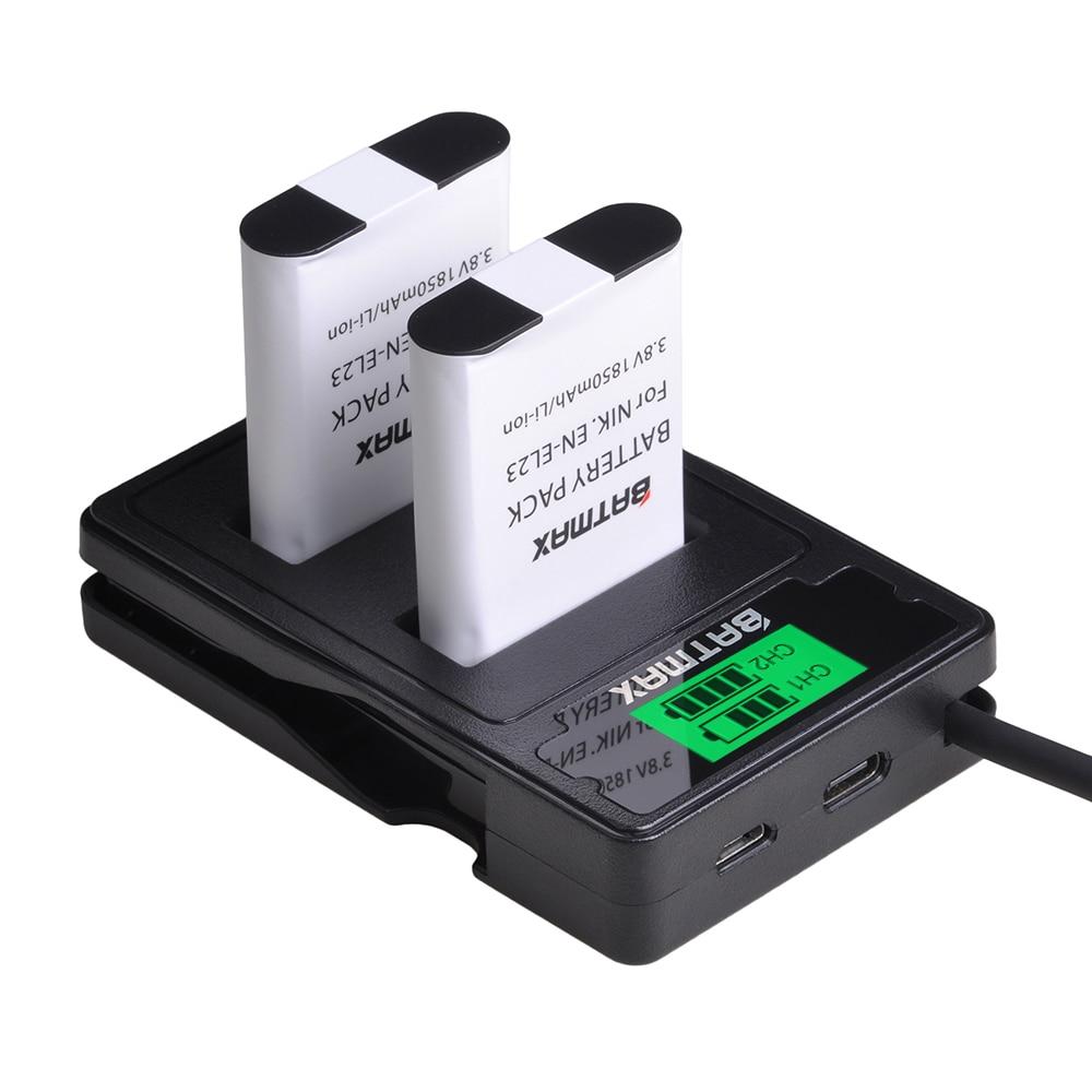 Batmax EN-EL23 EL23 Battery +LCD USB Dual Charger With Type C Port For Nikon COOLPIX P900, P610, P600, B700, S810c Camera