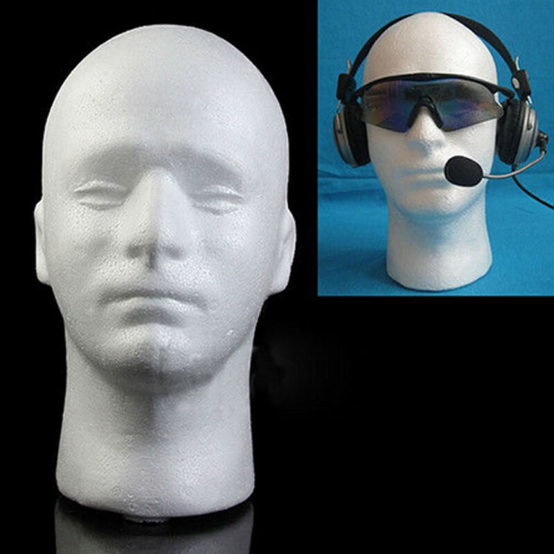 Brand New Styrofoam Men White Styrofoam Foam Hair Hat Headset Mannequin Head Model Wig Wig Stand Screen Shelf Wig Stands