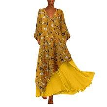 Women Autumn Winter Plus Size Dress Vintage V Neck Splicing Floral Printed Long Sleeve Long Dress  S-5XL