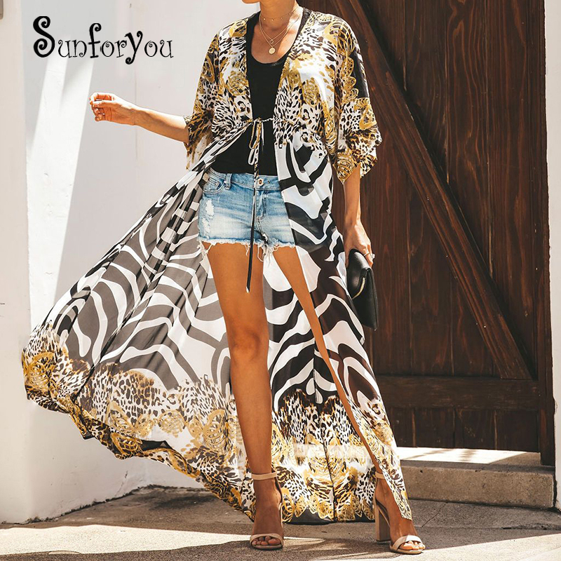 Print Leopard Beach Cover Up Long Kaftan Beach Swim Cover Up Robe Plage Pareo Playa Bathing Suit Cover Ups Sarong Beachwear