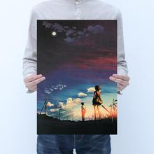Xinhaicheng anime five centimeters room decoration kraft paper poster cafe bar decoration painting