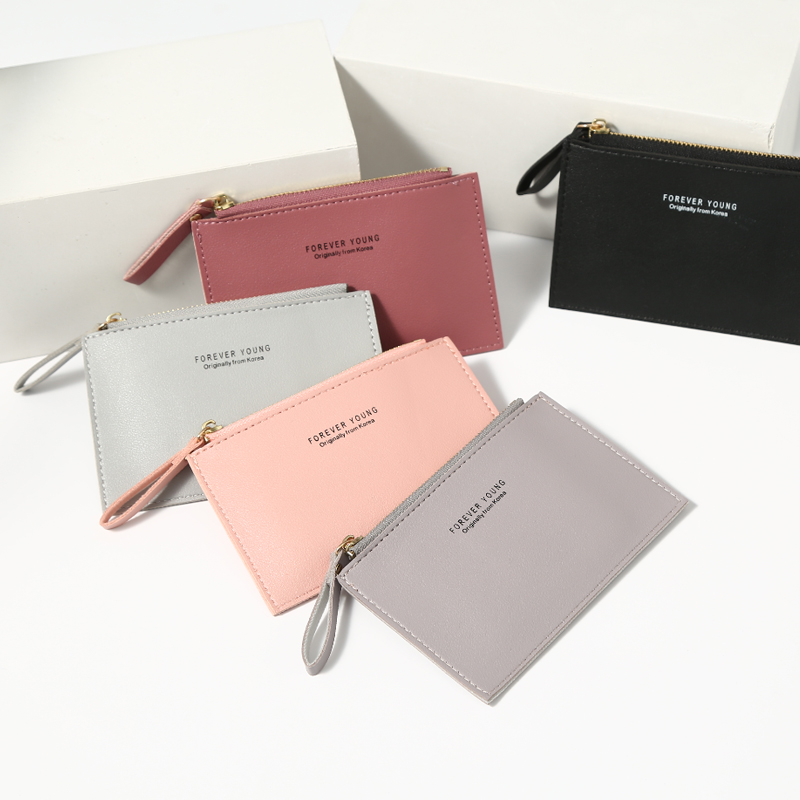 Men's Women's PU Zipper Cash ID Card Credit Card Holder Pure Color Mini Business Card Case Name Card Holder Holiday Gift