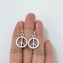 Silver Color Peace Sign Earrings, Small Peace Sign Earrings, Peace Jewelry, Peace Earrings, Round Dangle Earrings for Women peace
