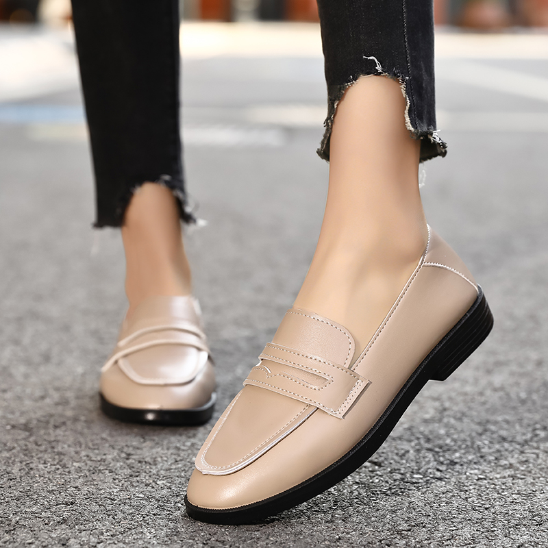 Women's new casual leather shoes soft leather comfortable lightweight loafers wear-resistant non-slip lazy single pedal shoes