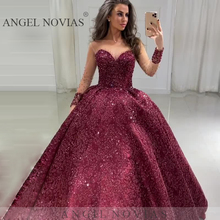 Long Sleeves Burgundy Glitters Lace Ball Gown Prom Dresses 2