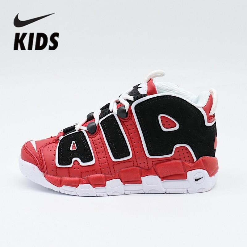 Nike Air More Uptempo   Kids Shoes Air Cushion Serpentine Children Basketball Shoes 9211948-002