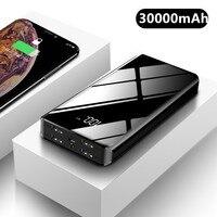 30000mAh قوة البنك شحن سريع 4 USB LED عرض Powerbank ل شاومي mi الطاقة المحمولة شاحن بطارية خارجية آيفون 11