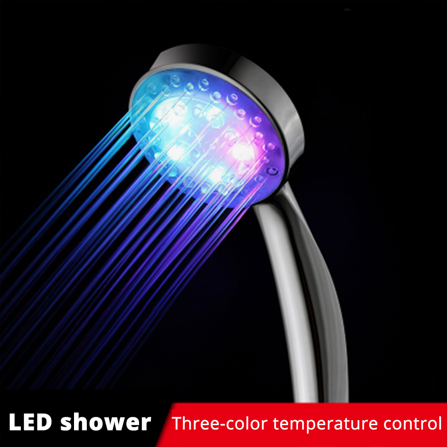 Bathroom LED Round Light Pure Shower Head Temperature Control High Pressure Sprinklers Hand Hold Water Saving Spa Rain Sprayers