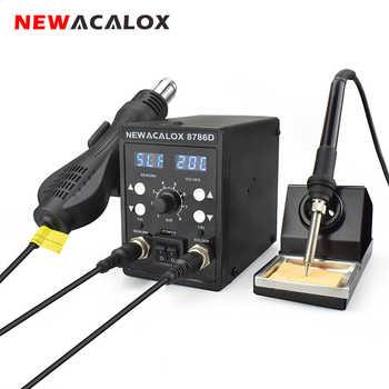 NEWACALOX 8786D 878 750W Blau Digital 2 In 1 SMD Rework Löten Station Reparatur Schweißen Löten Eisen Set PCB entlötwerkzeug