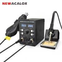 NEWACALOX 8786D 878 750W bleu numérique 2 en 1 SMD Rework Station de soudure réparation soudage fer à souder ensemble PCB dessouder outil