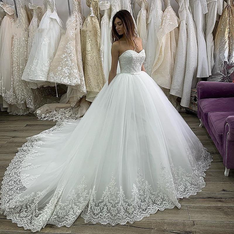 Vestido De Noiva 2020 Princess Strapless Ball Wedding Dresses With Train Lace Tapplique Tull Bridal Gowns Vestido De Casamento