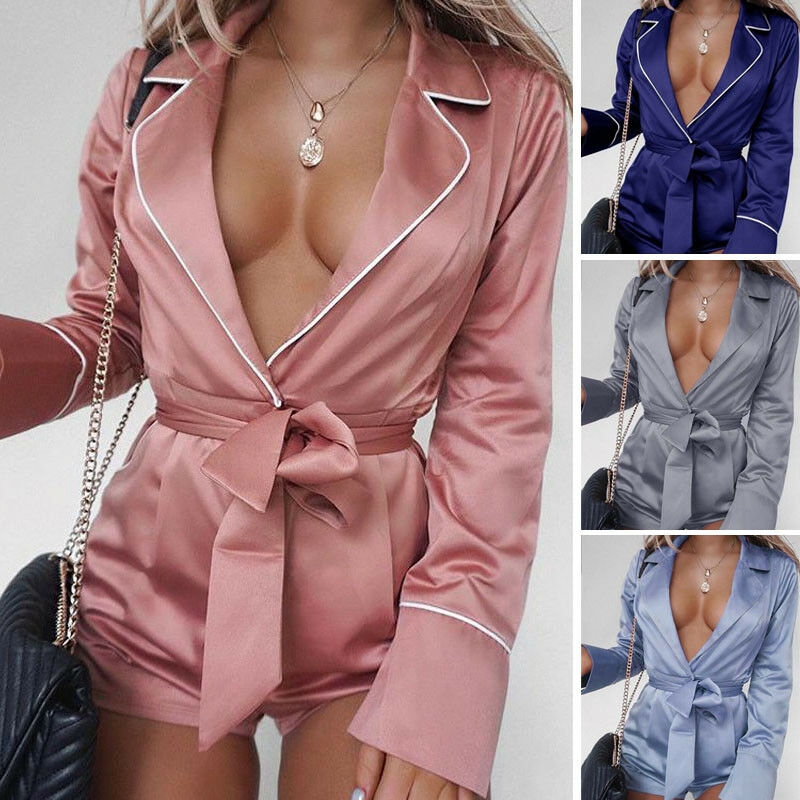 Sexy Women Home Sleepwear Style Deep V neck Satin Silk Long Sleeve Playsuits Solid color Soft Jumpsuits with Belt