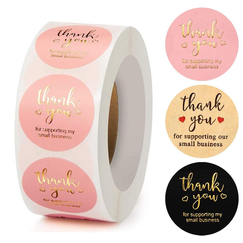 Etiqueta da decoração das etiquetas do selo de 1 polegada do preto do rosa redondo das etiquetas de kraft