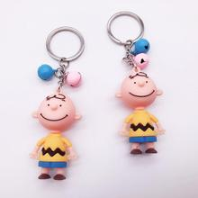 2019  Cute Cartoon Charlie Brown Keychain For Girls Car Or Bag Keyring Anime Key chain Gifts Men Chain Women