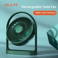 JISULIFE-ventilador de mesa Mini USB, ventilador de escritorio recargable de viento fuerte, inalámbrico, 4000mAH, con 4 velocidades de viento, rotación de 270 grados