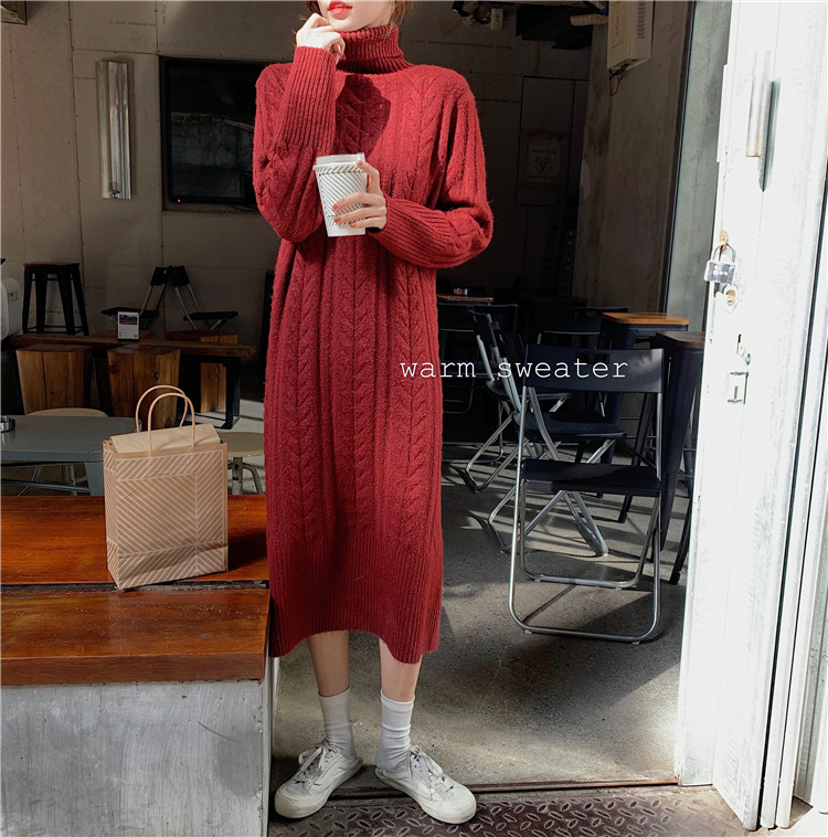 Women Winter Knit Dresses 2019 Europe Long Sleeve Turtleneck Casual Slim Warm Maxi Sweater Dress Plus Size Women's Clothing L-66