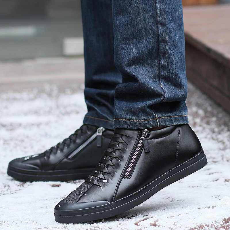JUNJARM Mannen Laarzen Warme Pluche Heren Winter Schoenen Mode Mannen Snowboots Rits Mannelijke Enkellaars Zwart Katoen Binnen Mannen schoenen