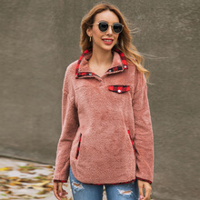 Women Fashion Pocket Zipper Sweatshirt Plush Hoodies Sweatsh