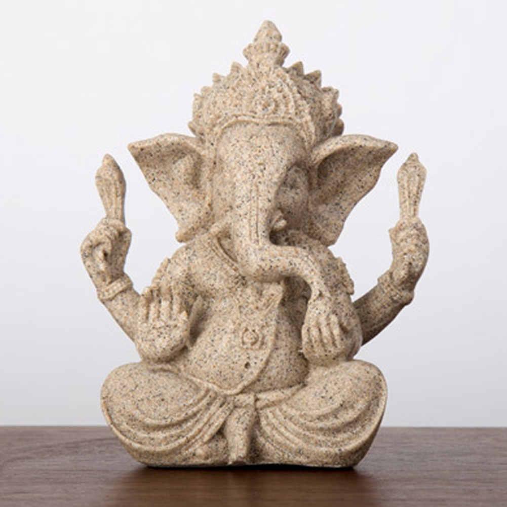 Arenito religioso ganesha buda elefante estátua escultura artesanal natural artesanato estatueta miniaturas decoração da sua casa