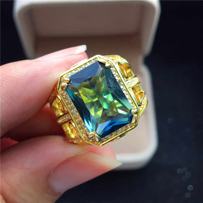 หรูหราสุภาพสตรี Big Square Blue Zircon แหวนแฟชั่นสีเหลืองทองนิ้วมือแหวนแหวนแต่งงานสำหรับผู้หญิง