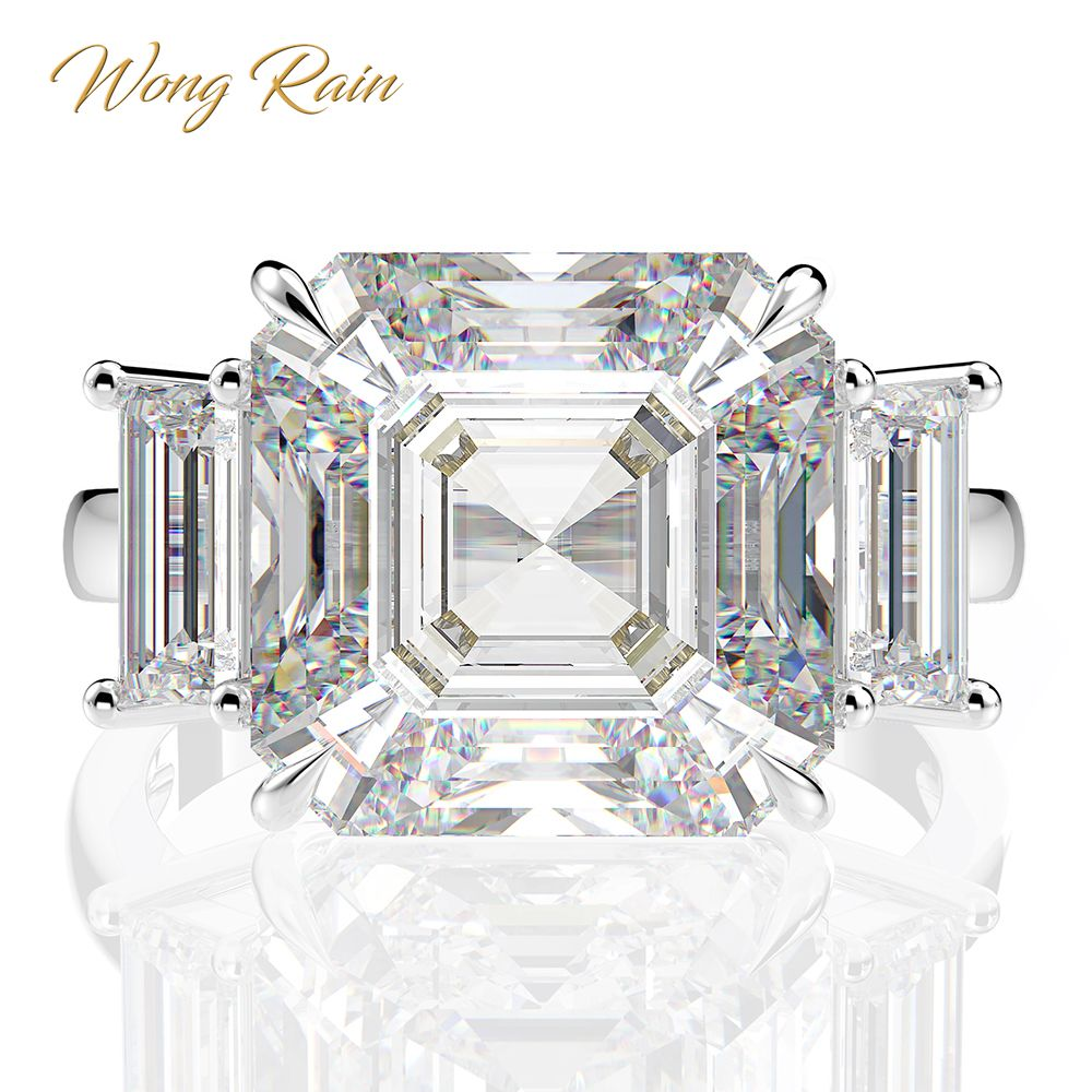 Wong Rain Luxury 100% 925 Sterling Silver Created Moissanite Gemstone Wedding Engagement Diamonds Ring Fine Jewelry Wholesale
