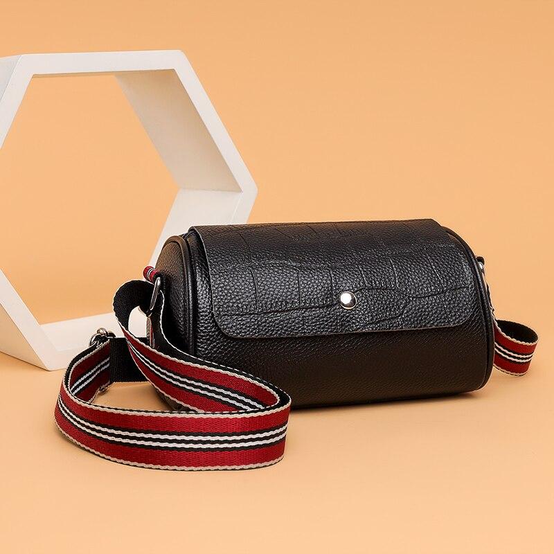 New Genuine Leather Handbag Designers Women Messenger Bags Females Cylinder Bag Leather Crossbody Shoulder Bag Handbag Bolsa